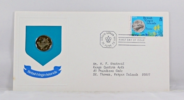1973 British Virgin Islands 5c Coin and 5c Stamp in FDC + COA