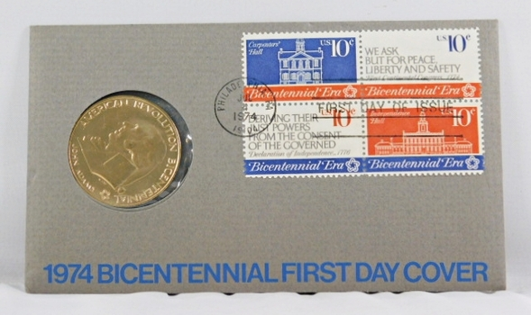 1974 Bicentennial FDC - Bronze Commemorative Medal of American Revolution Plus Four 10c Stamps - In Original Packaging