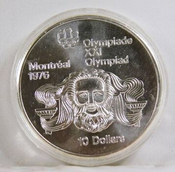 1974 Canada Silver $10 Olympics Coin*1.5oz Sterling Silver*In Protective Capsule
