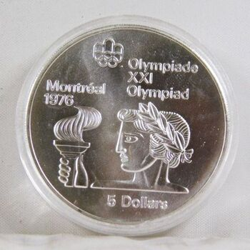 1974 Canada Silver $5 Olympics Coin*1oz Sterling Silver*In Protective Capsule