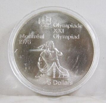 1974 Canada Silver $5 Olympics Coin*In Protective Capsule