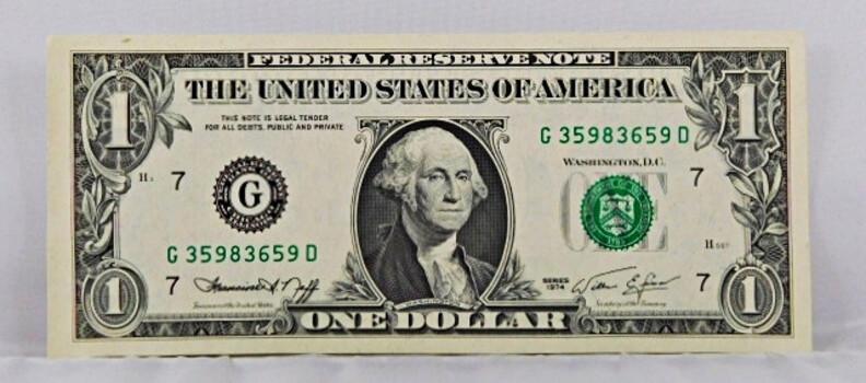 1974 One Dollar Bill Crisp And High Grade