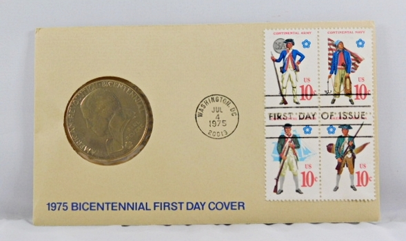1975 Bicentennial FDC - Bronze Commemorative Medal of American Revolution Plus Four 10c Stamps - In Original Packaging