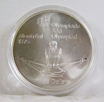 1975 Canada Silver $5 Olympics Coin*1oz Sterling Silver*In Protective Capsule