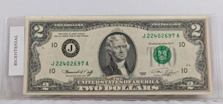 1976 2 Dollar Bill High Grade Bicentennial