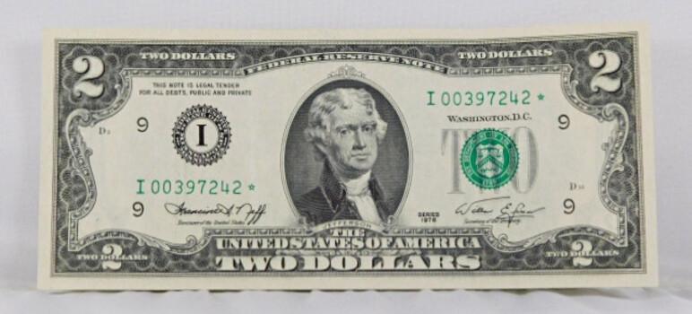 1976 2 Dollar Note Crisp Star Note