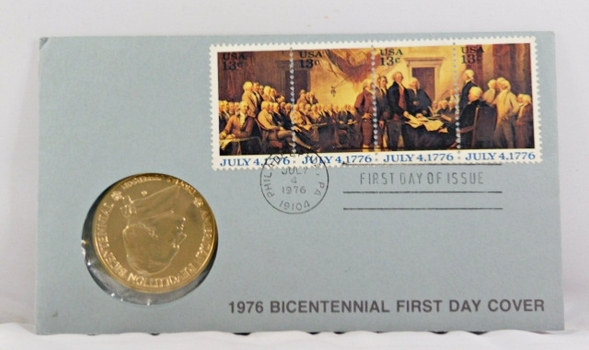 1976 American Revolution Bicentennial Medal*Bronze*With 4 13c Stamps on FDC