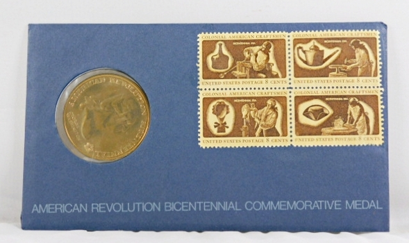 1976 Bicentennial FDC - Bronze Commemorative Medal of American Revolution Plus Four 8c Stamps - In Original Packaging