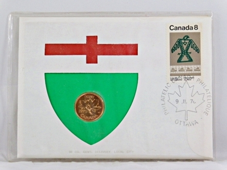 1976 Canada 10 Cent Coin and 8c Stamp + History On Coin and On Stamp in FDC