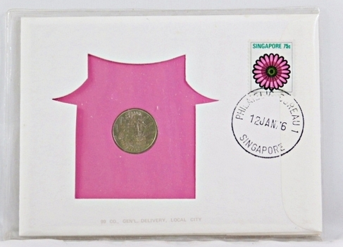 1976 Singapore 10 Cent Coin and 75c Stamp + History on Coins and On Stamp in FDC
