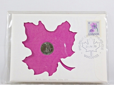 1978 Canada 10 Cent Coin and 4c Stamp + History on Coin and On Stamp in FDC