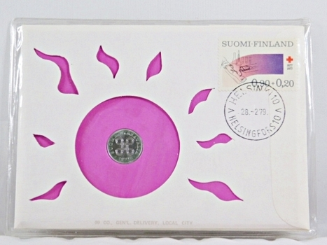 1979 Finland 10 Penni Coin and Stamp + History On Coin and On Stamp in FDC