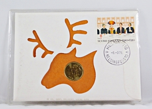 1979 Finland 10 Pennia Coin and Stamp + History On Coin and On Stamp in FDC