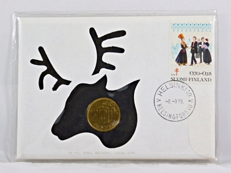 1979 Finland 20 Pennia Coin and Stamp + History On Coin and On Stamp in FDC
