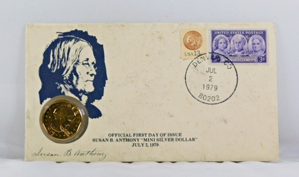 1979-D Susan B. Anthony First Day of Issue and 2 Stamps on FDC Plus Signature