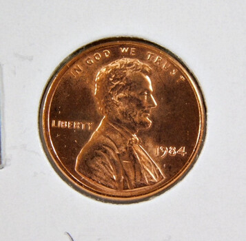 1984 Brilliant Uncirculated Lincoln Memorial Cent -  (red)