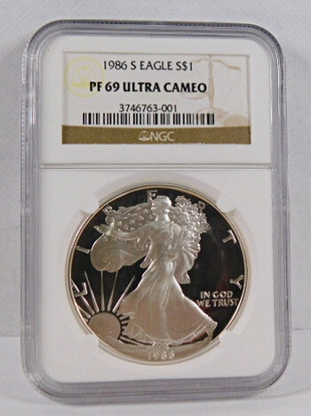1986-S American Proof Ultra Cameo Silver Dollar (PF 69) NGC Holder