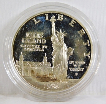 1986-S Ellis Island/Liberty Commemorative Proof Silver Dollar*In Protective Capsule