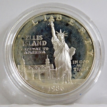 1986-S Proof Ellis Island/Liberty Silver Dollar*In Protective Capsule*DCAM