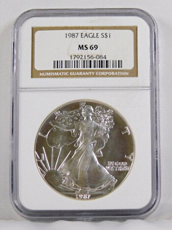 1987 1 Dollar .999 Fine 1 Oz. Silver Eagle Graded MS 69 By NGC