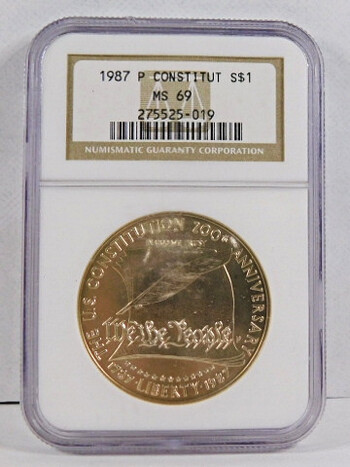 1987-P Constitution Silver Dollar NGC Graded MS69