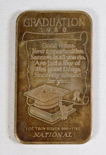 1988 Graduation 1oz .999+ Fine Silver Bar*National*Product of Canada