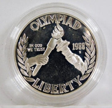 1988-S Seoul Olympiad Commemorative Proof Silver Dollar*In Protective Capsule