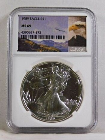 1989 American Silver Eagle*Graded MS69 by NGC*1oz .999 Fine Silver