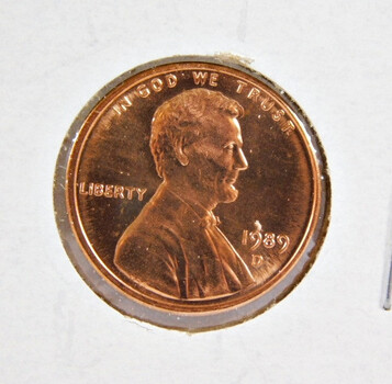 1989-D Brilliant Uncirculated Lincoln Memorial Cent -  (red)