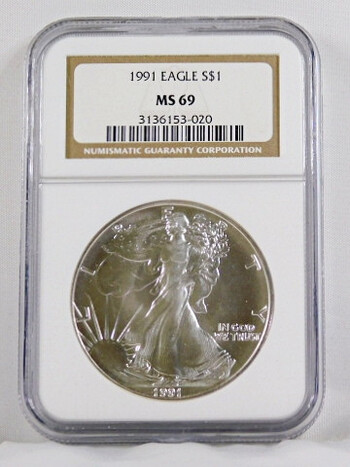 1991 1 Dollar .999 Fine 1 Oz. Silver Eagle Graded MS 69 By NGC