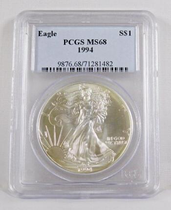 1994 1 Dollar .999 Fine 1 Oz. Silver Eagle Graded MS 68 By PCGS