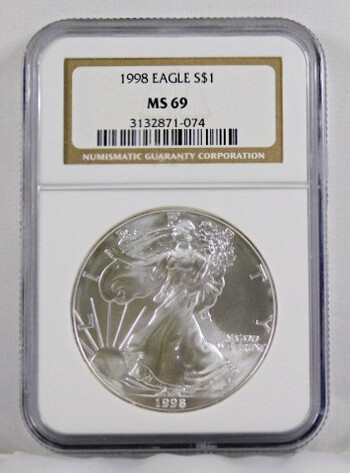 1998 1 Dollar .999 Fine 1 Oz. Silver Eagle Graded MS 69 By NGC