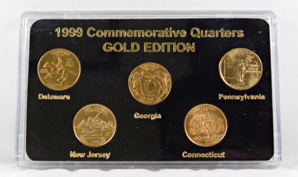 1999 Commemorative State Quarters-Gold Edition*24K Gold Layered in Custom Case