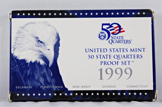 1999 Proof Quarters Set Includes 5 Quarters In Original Mint Packaging