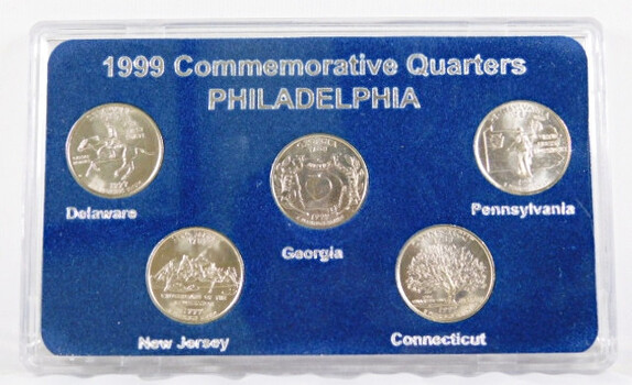 1999 Statehood Quarter Set Delaware New Jersey Georga Connectcut Pennsylvania