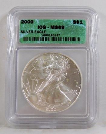 2000 American Silver Eagle*Graded MS69 by ICG*1 oz .999 Fine Silver Dollar