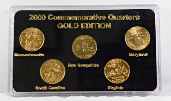 2000 Commemorative State Quarters-Gold Edition*24K Gold Layered in Custom Case