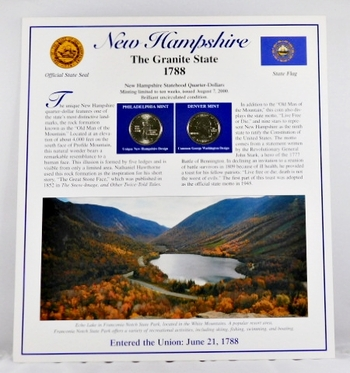 2000-P and 2000-D Uncirculated New Hampshire Commemorative State Quarters with 2 Stamps encased in Storyboard