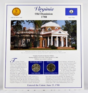 2000-P and 2000-D Uncirculated Virginia Commemorative State Quarters with 3 Stamps encased in Storyboard