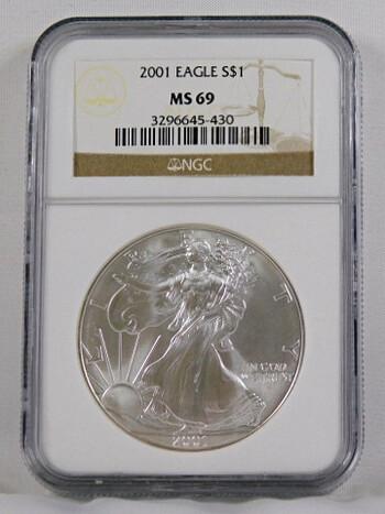 2001 1 Oz. .999 Fine Silver Eagle NGC Graded MS 69