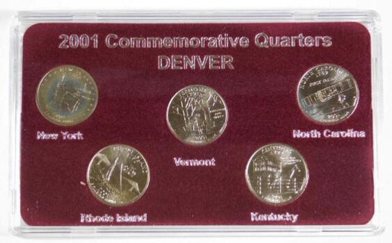 2001 Commemorative Quarters Denver New York Rhode Island Vermont Kentucky North Carolina