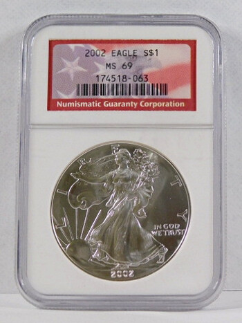 2002 .999 Fine Silver Eagle Graded MS 69 By NGC With Flag Lable