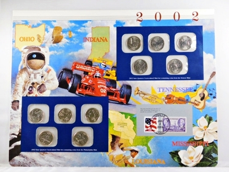 """2002 Commemorative State Quarters on a 10"""" x 13"""" Story Board*Ten Quarters In All"""