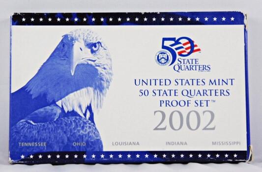 2002 Proof Quarters Set Includes 5 Quarters In Original Mint Packaging
