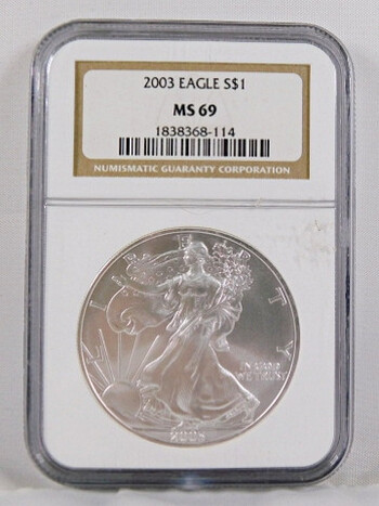 2003 1 Dollar .999 Fine 1 Oz. Silver Eagle Graded MS 69 By NGC