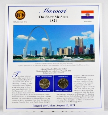 2003-P and 2003-D Uncirculated Missouri Commemorative State Quarters with 3 Stamps encased in Storyboard