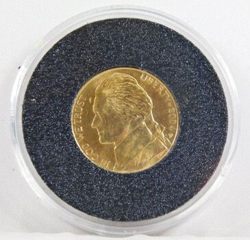 2004-D 24K Gold Layered Jefferson Peace Metal Commemorative Nickel - Uncirculated in Capsule