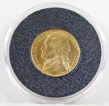 2004-P 24K Gold Layered Jefferson Peace Metal Commemorative Nickel - Uncirculated in Capsule