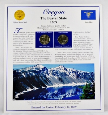 2005-P and 2005-D Uncirculated Oregon Commemorative State Quarters with 2 Stamps encased in Storyboard
