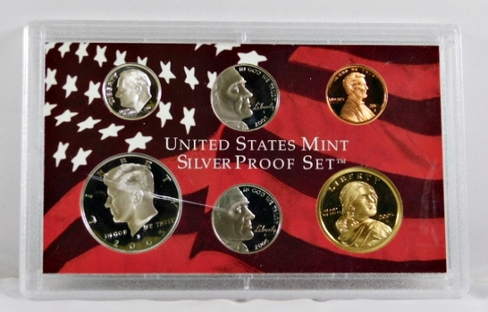 2005-S United States Mint Silver Proof Set - No Box Available but in the Original Mint Holder (cracked)